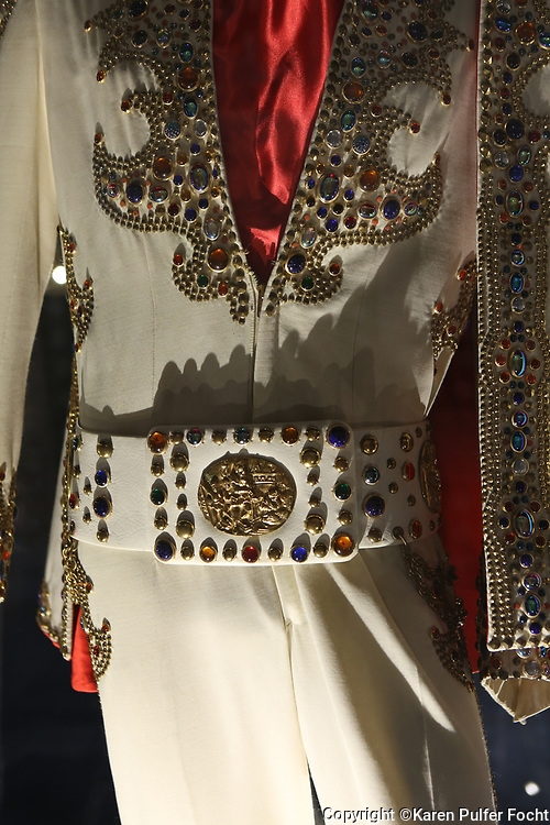 Jumpsuits belonging to Elvis Presley are in the museum near Graceland Mansion, Memphis, Tennessee is on the National Register of Historic Places.