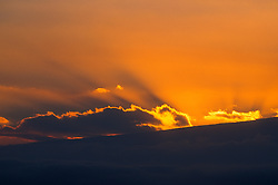 Sunset Over Kilauea Crater, Hawaii Volcanoes National Park, Big Island, Hawaii, US