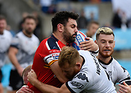 Gary Wheeler (R) of Toronto Wolfpack  tackles Rhys Williams (L) of London Broncos during the Super 8s Qualifiers Million Pound Game at Lamport Stadium, Toronto, Canada<br /> Picture by Stephen Gaunt/Focus Images Ltd +447904 833202<br /> 07/10/2018