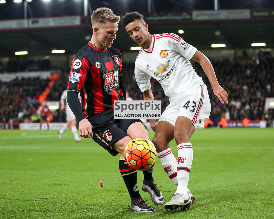 Matt Ritchie tackles Cameron Borthwick - Jackson During Bournemouth vs Manchester United on Saturday the 12th December 2015.