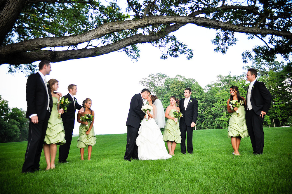 Michelle & Alan's bridal party in pairs at St. Charles Country Club, St. Charles, IL
