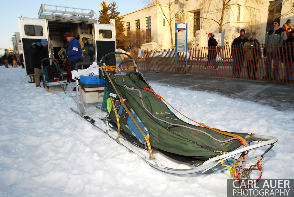 3/3/2007:  Anchorage Alaska -  Musher helpers prepare one of the newer aluminum sleds for the ceremonial start of the 35th Iditarod Sled Dog Race