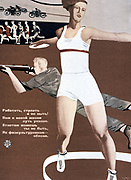The Physical Form', 1933 . Soviet propaganda poster by Alexander Deineka.  Russia USSR  Communism Communist   Sport Athletics