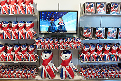 © Licensed to London News Pictures.  13/09/2011. LONDON, UK. Olympic mascots Wenlock and Mandeville on sale in the 2012 shop within John Lewis at the Westfield Stratford City shopping centre which opened at 8am today. The £1.8 billion retail development overlooks the Olympic park and is the largest urban shopping centre in Europe with 1.9 million square feet of space. Photo credit :  Cliff Hide/LNP