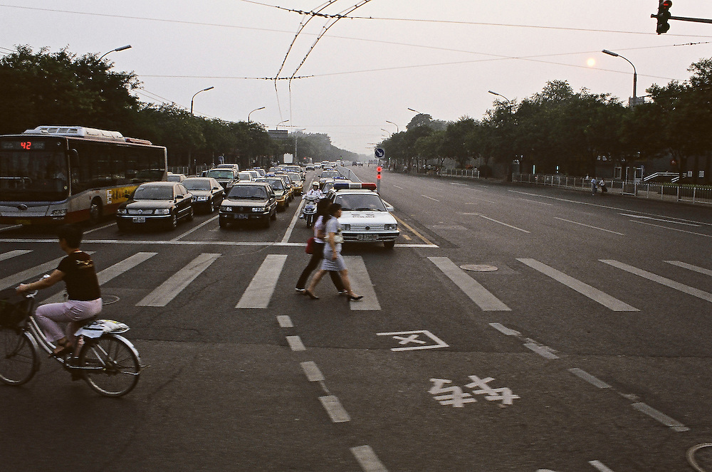 Beijing - 6 days, blur atmosphere .<br /> In the empty streets of Beijing waiting for the Games<br /> Just a few days before the great day of the opening ceremony of the olympic games, the streets of Beijing look like &quot;suspended&quot;... partly empty because of the anti-pollution rules and the decision of the government to ask migrants to quit the town ...<br /> Beijing, China, July 31 2008 High Resolution available