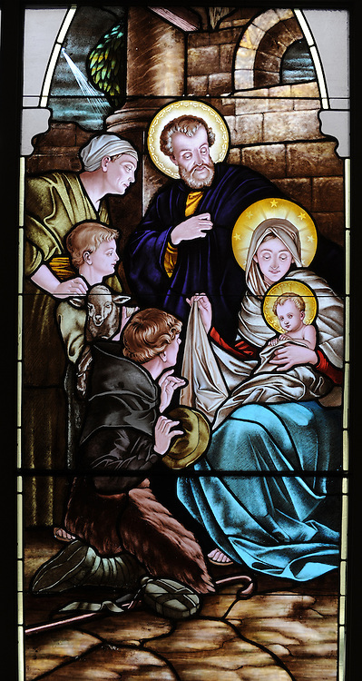 Stained glass image of the Nativity. Our Lady of Lourdes Church, De Pere, Wis. (Sam Lucero photo)