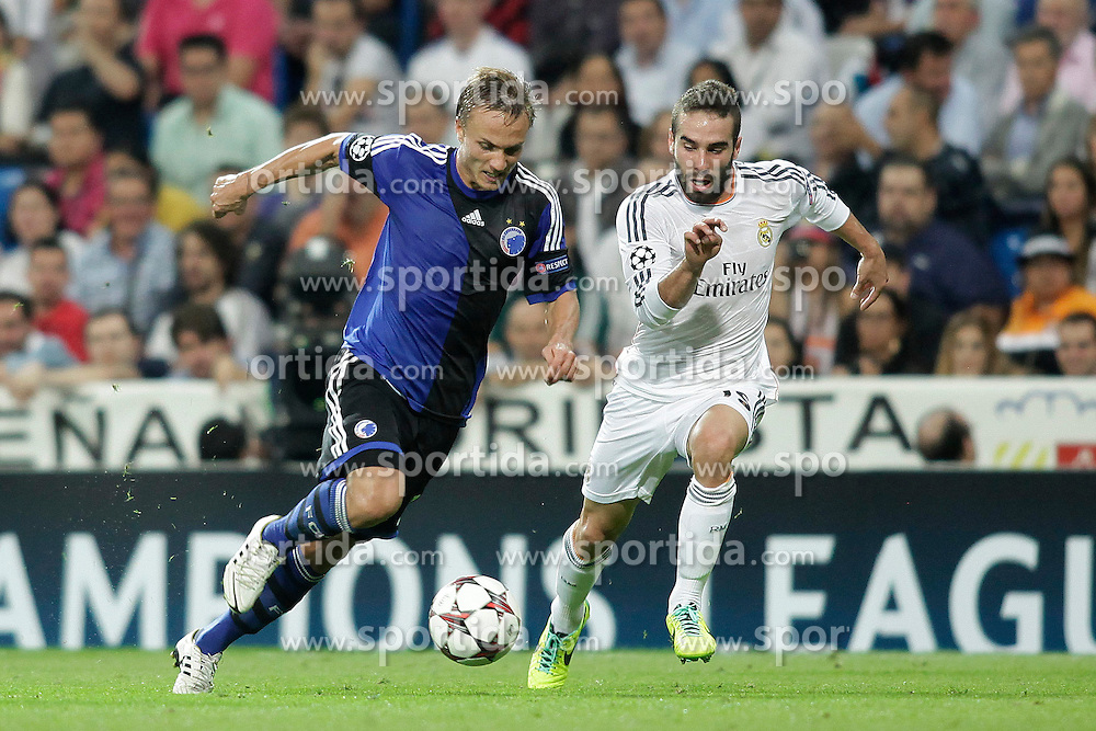 02.10.2013, Estadio Santiago Bernabeu, Madrid, ESP, UEFA Champions League, Real Madrid vs FC Kopenhagen, Gruppe B, im Bild Real Madrid Carvajal (R) and FC Kopenhagen Bengtsson // during the UEFA Champions League Group B match between Real Madrid and FC Kopenhagen at the Estadio Santiago Bernabeu, Madrid, Spain on 2013/10/02. EXPA Pictures &copy; 2013, PhotoCredit: EXPA/ Alterphotos/ Ricky Blanco<br /> <br /> ***** ATTENTION - OUT OF ESP and SUI *****