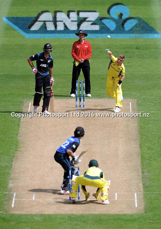 Australia's Adam Zampa bowls in the 2nd match of the Chappell-Hadlee ODI series, New Zealand vs Australia, Westpac Stadium, Wellington, Saturday, February, 06, 2016. Copyright photo: Kerry Marshall / www.photosport.nz