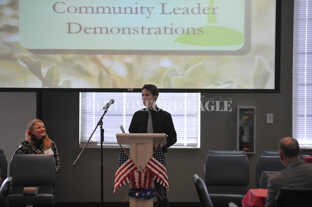 Tristan Young recites a speech by Patrick Henry at a Classical Conversations program at First Baptist Church in Oxford, Miss. on Tuesday, February 19, 2013.
