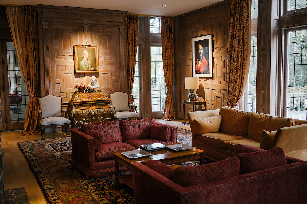 Paintings an images in the Salon des boiseries of the French Ambassador's residence in the Kalorama neighborhood of Washington D.C. France acquired the residence in 1936.