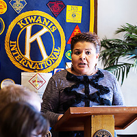 Kathy Titla of the Child Haven of New Mexico talks to the Kiwanis Club about the program now being in Gallup full-time at thier regular meeting on April 18 in Gallup