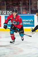 KELOWNA, CANADA - MARCH 16: Liam Kindree #26 of the Kelowna Rockets warms up ]against the Vancouver Giants  on March 16, 2019 at Prospera Place in Kelowna, British Columbia, Canada.  (Photo by Marissa Baecker/Shoot the Breeze)