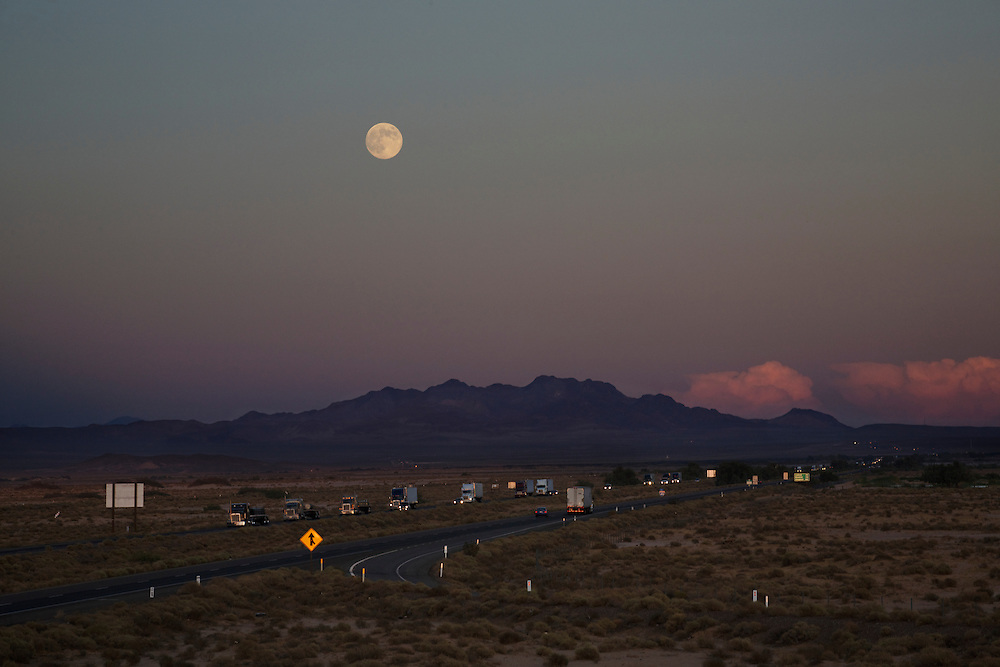 Moonrise and Sunset over Highway 40, looking East