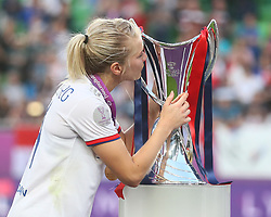 May 18, 2019 - Budapest, Hungary - Ada Hegerberg of Olympique Lyonnais kiss the Trophy..during the UEFA Women's Champions League Final between Olympique Lyonnais and FC Barcelona Women at Groupama Arena on May 18, 2019 in Budapest, Hungary  (Credit Image: © Action Foto Sport/NurPhoto via ZUMA Press)