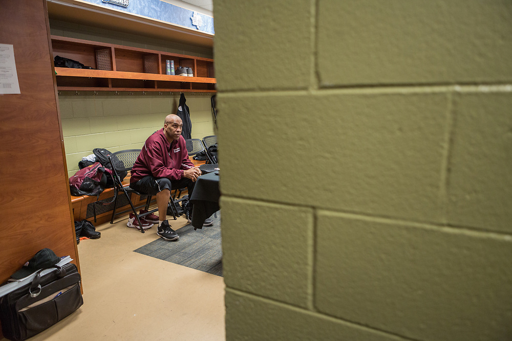 Greenville, South Carolina - March 17, 2017: Head Coach Mike Davis watches television in the locker room before the game. The TSU Tigers played the UNC Tarheels in the first round of the 2017 NCAA Men's Tournament (Michael Starghill, Jr. for The Undefeated)