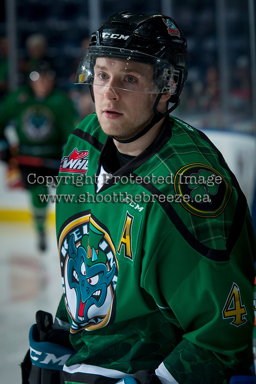 KELOWNA, CANADA - MARCH 18:  Gordie Ballhorn #4 of the Kelowna Rockets warms up against the Vancouver Giants on March 1, 2018 at Prospera Place in Kelowna, British Columbia, Canada.  (Photo by Marissa Baecker/Shoot the Breeze)  *** Local Caption ***