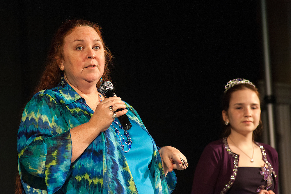 Alicia Hall and her daughter Avalon Haven give a presentation on Camp Quality Ohio, a program that provides a summer camp for children with cancer, during the Ava Nichols Faculty Pageant in Baker Center Ballroom on Wednesday, February 25. The proceeds from the pageant will go to thr camp.