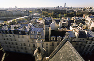 "France. Paris. elevated view. The Seine river and the ""pont neuf"", view from St Germain L'auxerrois church (1st)"