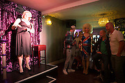 Sally Vate, local entertainer and drag queen, one of the best cabaret acts on the Brighton gay scene,  performing at The Queens Arms Brighton. Untied Kingdom.  (photo by Andrew Aitchison / In pictures via Getty Images)