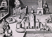 Assay laboratory with various forms of furnace including and athanor or 'Slow Harry', 7, self-stoking furnace for cementation, 9, and barrel-shaped furnace, 3, in which draught supplied by steam from water in container placed over hot charcoals.  At 4 a crucible is being gradually heated in a ring of burning coals: to increase the heat coals could be raked into a smaller circle. From 1683 English edition of Lazarus Ercker  'Beschreibung allerfurnemisten mineralischen Ertzt- und Berckwercksarten' originally published in Prague in 1574. Copperplate engraving.