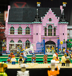 The SEC in Glasgow hosts Brick Live, the largest LEGO exhibition in the UK. Featuring models made up of over 6 million bricks, LEGO enthusiasts can build their own creations as well as admiring the models created by some of the leading designers including Scotland's Nick Clayton and Rocco Buttliere from Chicago.<br /> <br /> Pictured: A fantasy palace scene made from Lego Bricks
