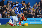 Nottingham Forest striker Hildeberto Pereira (17) makes a tackle on Birmingham City midfielder David Davis (26) 0-0 during the EFL Sky Bet Championship match between Birmingham City and Nottingham Forest at St Andrews, Birmingham, England on 14 January 2017. Photo by Alan Franklin.