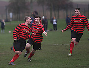 Fintry Athletic's John Penman (left) celebrates after firing home the opening goal during his side's last 16 Scottish Cup clash with Medda Sports - Dundee Sunday Amateur Football<br /> <br />  - &copy; David Young - www.davidyoungphoto.co.uk - email: davidyoungphoto@gmail.com