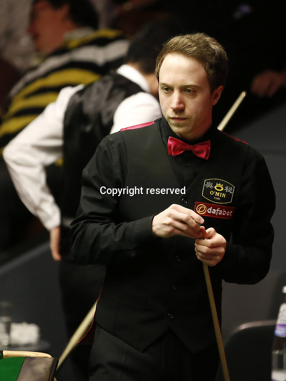 21.04.2014. Sheffield, England. English Michael Wasley (Eng) looks on during his Round 1 match against Ding Junhui of China on Day 2 of World Snooker Championship at the Crucible Theater in Sheffield, Britain, April 20, 2014.