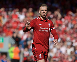 BRITAIN-LIVERPOOL-FOOTBALL-ENGLISH PREMIER LEAGUE-LIVERPOOL VS WOLVERHAMPTON WANDERERS..(190512) -- LIVERPOOL, May 12, 2019  Liverpool's captain Jordan Henderson before the final English Premier League match of the season between Liverpool and Wolverhampton Wanderers at Anfield in Liverpool, Britain on May 12, 2019. Liverpool won 2-0.  FOR EDITORIAL USE ONLY. NOT FOR SALE FOR MARKETING OR ADVERTISING CAMPAIGNS. NO USE WITH UNAUTHORIZED AUDIO, VIDEO, DATA, FIXTURE LISTS, CLUBLEAGUE LOGOS OR ''LIVE'' SERVICES. ONLINE IN-MATCH USE LIMITED TO 45 IMAGES, NO VIDEO EMULATION. NO USE IN BETTING, GAMES OR SINGLE CLUBLEAGUEPLAYER PUBLICATIONS. (Credit Image: © Xinhua via ZUMA Wire)