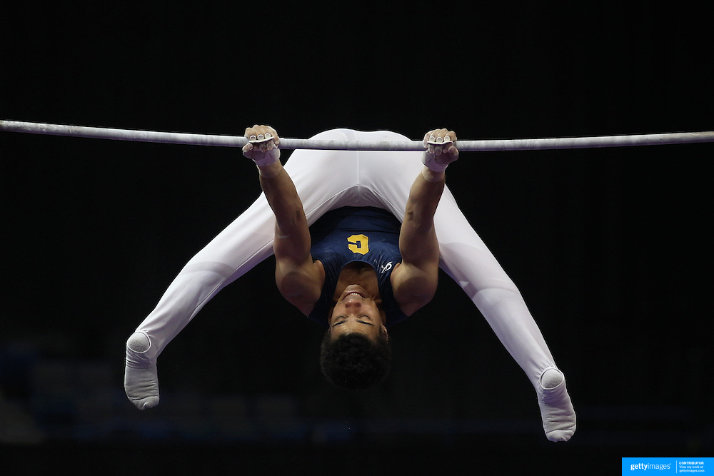 Donothan Bailey, Berkeley, California, in action on the Horizontal bar during the Senior Men Competition at The 2013 P&G Gymnastics Championships, USA Gymnastics' National Championships at the XL, Centre, Hartford, Connecticut, USA. 16th August 2013. Photo Tim Clayton