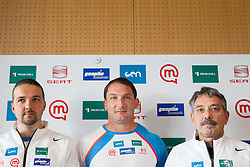 Coach Primoz Cetrtic, athlete Primoz Kozmus and physiotherapist Khalid Nassif during press conference before new season 2013, on April 23, 2013,in Gen-i energija, Krsko, Slovenia. (Photo By Vid Ponikvar / Sportida.com)