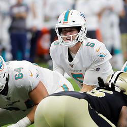 Aug 29, 2019; New Orleans, LA, USA; Miami Dolphins quarterback Jake Rudock (5) under center against the New Orleans Saints during the first half of a preseason game at the Mercedes-Benz Superdome. Mandatory Credit: Derick E. Hingle-USA TODAY Sports