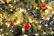 Nederland, Ubbergen, 24-12-2014Kerstboom met lichtjes en rode kerstballen.Foto: Flip Franssen/Hollandse Hoogte