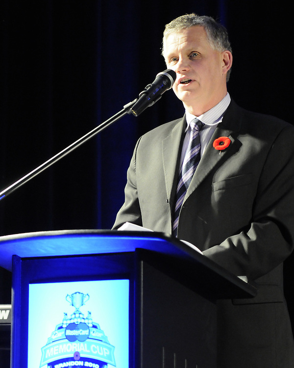 WHL Commissioner Ron Robison at the opening banquet of the 2010 MasterCard Memorial Cup in Brandon, MB on Thursday May 13, 2010. Photo by Aaron Bell/CHL images