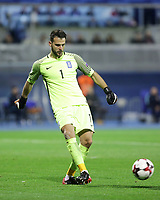 ZAGREB, CROATIA - NOVEMBER 09:  Orestis Karnezis of Greece controls the ball during the FIFA 2018 World Cup Qualifier play-off first leg match between Croatia and Greece at Maksimir Stadium on November 9, 2017 in Zagreb, Croatia. (Luka Stanzl/PIXSELL)