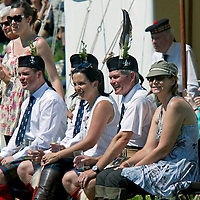 27.5.2012...Atholl Highland Games, Blair Castle grounds, Blair Atholl, Perthshire, Scotland.<br /> The 12th Duke of Atholl, Bruce Murray, second from right, watches the games with his family.<br /> COPYRIGHT: Perthshire Picture Agency.<br /> Tel. 01738 623350 / 07775 852112.
