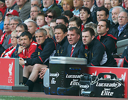 LIVERPOOL, ENGLAND - Sunday, May 19, 2013: Liverpool's manager Brendan Rodgers on the bench with assistant manager Colin Pascoe, Under-18s coach Mike Marsh and head of fitness and science Ryland Morgans during the final Premiership match of the 2012/13 season against Queens Park Rangers at Anfield. (Pic by David Rawcliffe/Propaganda)