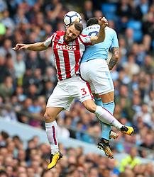 Erik Pieters of Stoke City challenges Kyle Walker of Manchester City - Mandatory by-line: Matt McNulty/JMP - 14/10/2017 - FOOTBALL - Etihad Stadium - Manchester, England - Manchester City v Stoke City - Premier League