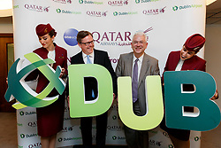 Repro Free: 12/06/2017 Niall Gibbons, CEO, Tourism Ireland is pictured with Jonathan Harding, Qatar Airways SVP Europe and Dublin Airport Managing Director Vincent Harrison and Qatar Airways cabin crew at the launch of the inaugural Dublin to Doha route at Dublin Airport. Picture Andres Poveda