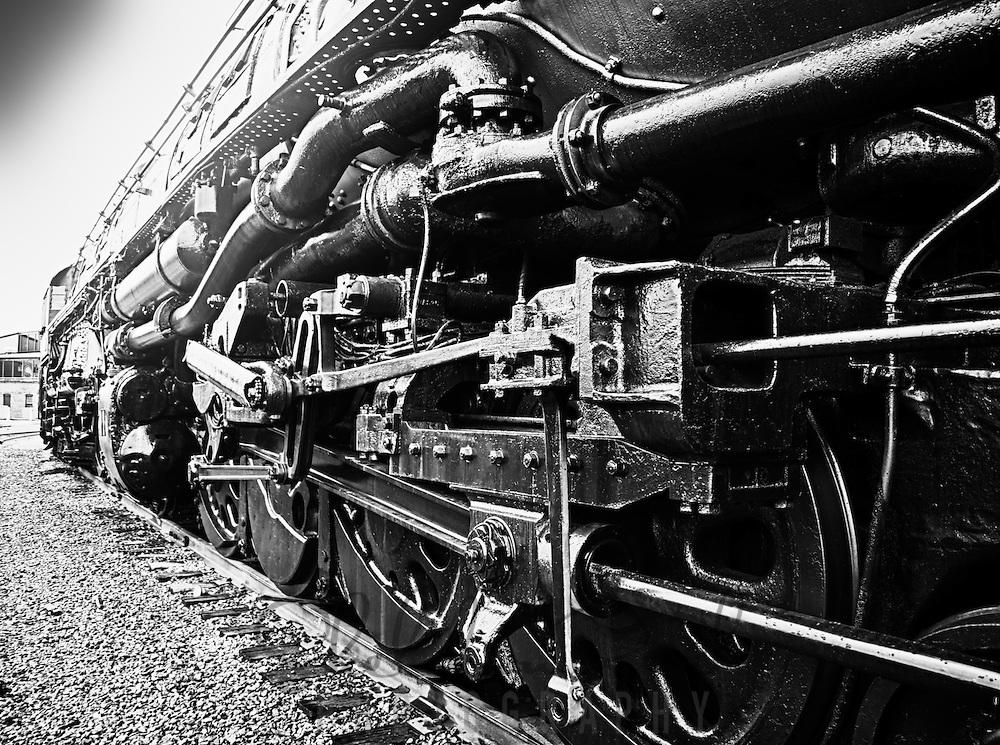"""Retired """"Big Boy"""" steam locomotive at Steamtown, USA, National Park."""