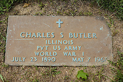 31 August 2017:   Veterans graves in Park Hill Cemetery in eastern McLean County.<br /> <br /> Charles S Butler Illinois Private US Army World War 1 July 23 1890 May 7 1967