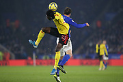 Ismaila Sarr (23) of Watford heads the ball during the Premier League match between Leicester City and Watford at the King Power Stadium, Leicester, England on 4 December 2019.