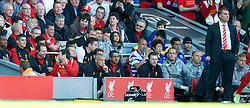 LIVERPOOL, ENGLAND - Sunday, May 19, 2013: Liverpool's Jamie Carragher on the bench after he is substituted in his 737th and last game for the club during the final Premiership match of the 2012/13 season against Queens Park Rangers at Anfield. (Pic by David Rawcliffe/Propaganda)
