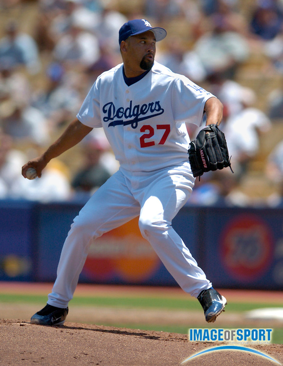 May 13, 2004; Los Angeles, CA, USA; Los Angeles Dodgers reliever Jose Lima (27) pitched 5 2/3 scoreless innings in 7-3 loss to the Chicago Cubs at Dodger Stadium.