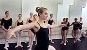 A student dancer performs during a dance class held in the Roe Green Center.