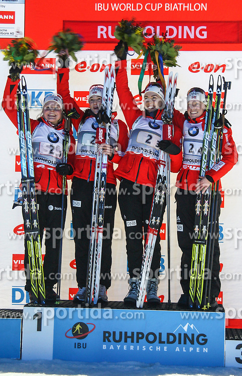 09.01.2013, Chiemgau Arena, Ruhpolding, GER, E.ON IBU Weltcup, Staffel, Damen, im Bild das Gewinner-Team aus Norwegen // The Nwinning orwegian team during Womens Relay of E.ON IBU Biathlon World Cup at the Chiemgau Arena in Ruhpolding, Germany on 2013/01/09. EXPA Pictures © 2013, PhotoCredit: EXPA/ Sven Kiesewetter