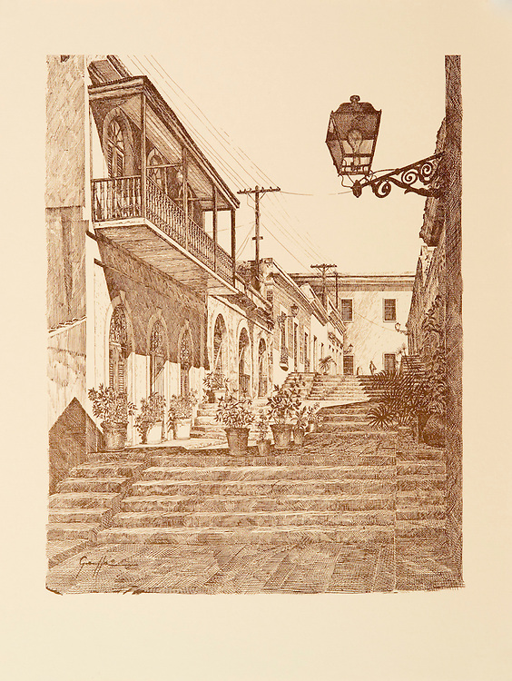 Catalog #06 - Lithographic print of Pen and Ink drawing of a street in old San Juan, Puerto Rico known as Street of Stairs (Calle de las Escaleras), better known as the Hospital Alley (Callejon del Hospital), XVII century. This print is part of a series printed on antique colored paper.<br />