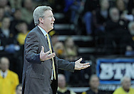 January 07, 2011: Iowa Hawkeyes head coach Fran McCaffery questions a call during the the NCAA basketball game between the Ohio State Buckeyes and the Iowa Hawkeyes at Carver-Hawkeye Arena in Iowa City, Iowa on Saturday, January 7, 2012.