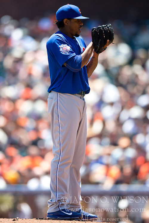 SAN FRANCISCO, CA - MAY 28:  Edwin Jackson #36 of the Chicago Cubs stands on the pitchers mound against the San Francisco Giants during the first inning at AT&T Park on May 28, 2014 in San Francisco, California.  The San Francisco Giants defeated the Chicago Cubs 5-0.  (Photo by Jason O. Watson/Getty Images) *** Local Caption *** Edwin Jackson