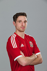 CARDIFF, WALES - Thursday, November 14, 2013: Wales' Joe Allen wearing the new Wales 2013/2014 Adidas home jersey. (Pic by David Rawcliffe/Propaganda)